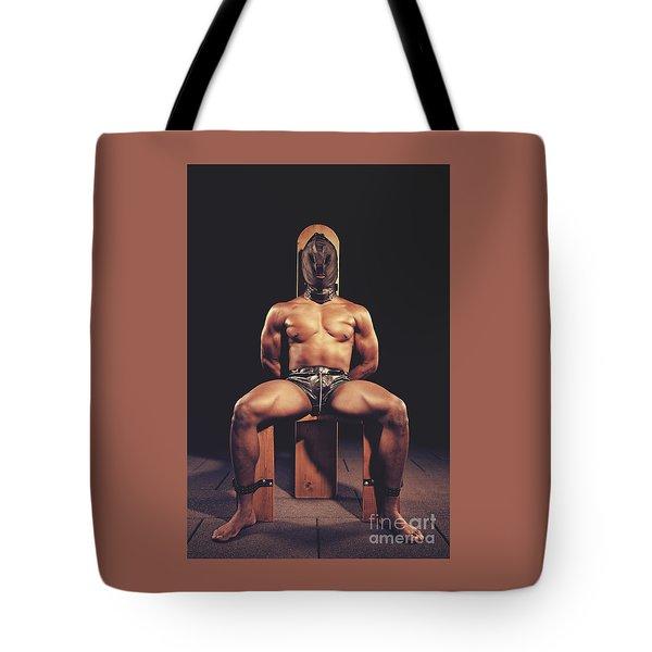 Sexy Man Tiedup On A Bdsm Chair Tote Bag