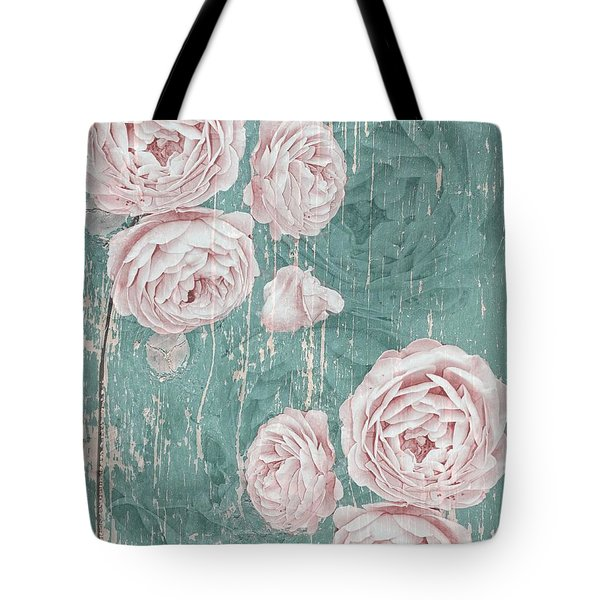 Shabby Chic Roses Distressed Tote Bag