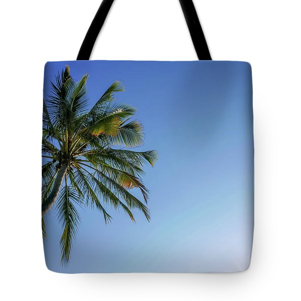 Shades Of Blue And A Palm Tree Tote Bag