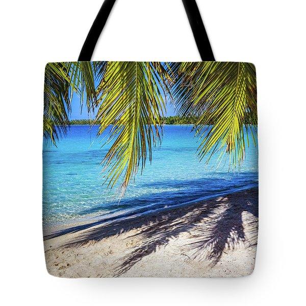 Shadows On The Beach, Takapoto, Tuamotu, French Polynesia Tote Bag