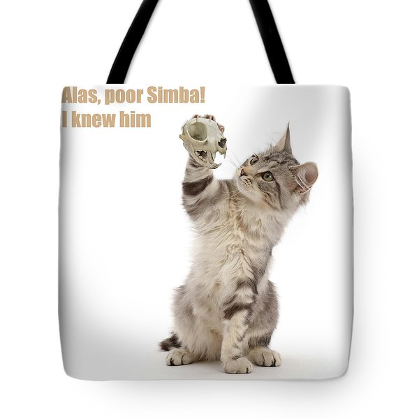 Tote Bag featuring the photograph Shakespeare Cat - Alas Poor Yorick by Warren Photographic