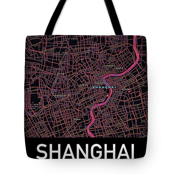 Tote Bag featuring the digital art Shanghai City Map by Helge