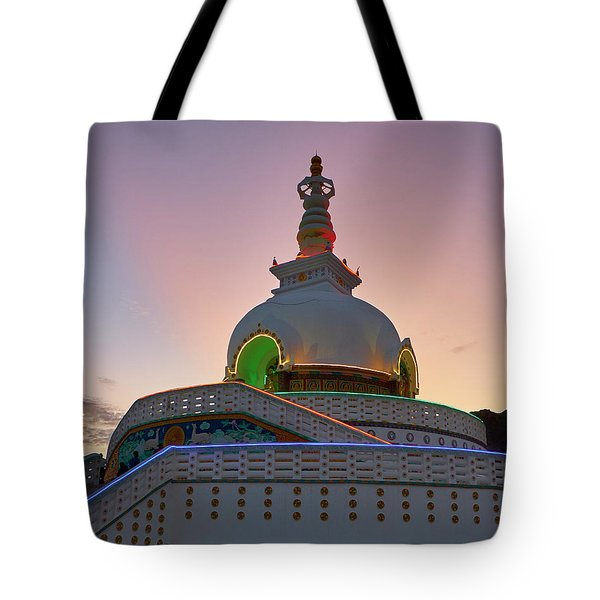 Tote Bag featuring the photograph Shanti Stupa by Whitney Goodey