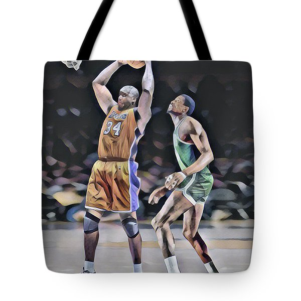 Shaquille O Neal Vs Bill Russell Abstract Art 1 Tote Bag
