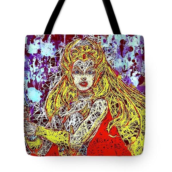Tote Bag featuring the mixed media She - Ra by Al Matra