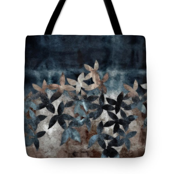 Shibori Leaves Indigo Print Tote Bag