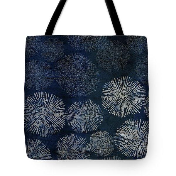 Shibori Sea Urchin Burst Pattern Dark Denim Tote Bag