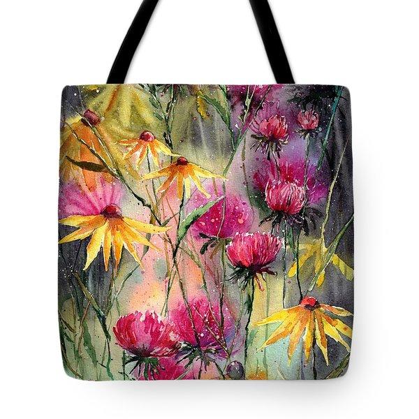 Shiny Rudbeckia And Thistle Tote Bag