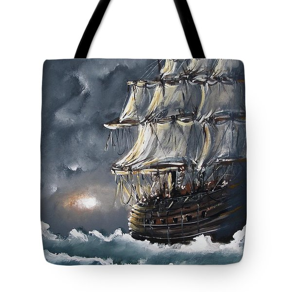 Tote Bag featuring the painting Ship Voyage by Miroslaw  Chelchowski