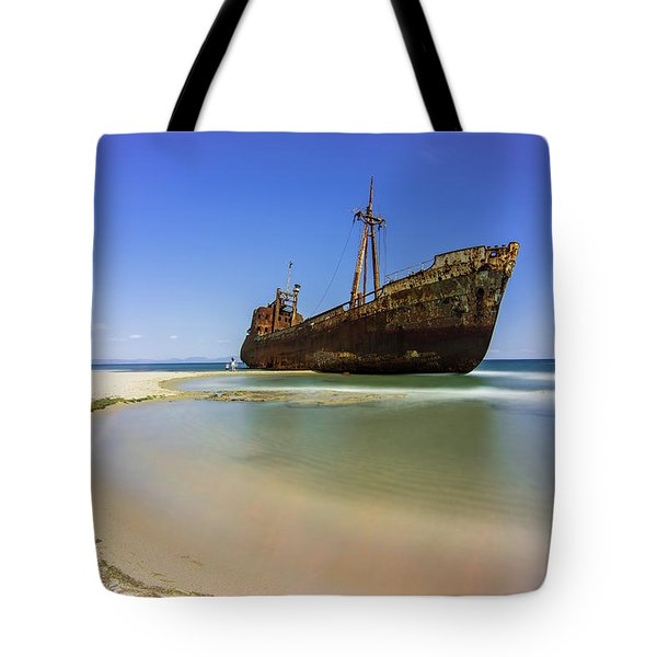 Tote Bag featuring the photograph Shipwreck Dimitros Near Gythio, Greece by Milan Ljubisavljevic