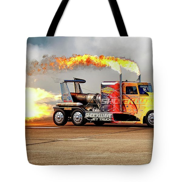 Tote Bag featuring the photograph Shockwave Jet Truck - Nhra - Peterbilt Drag Racing by Jason Politte