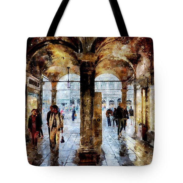 Shopping Area Of Saint Mark Square In Venice, Italy - Watercolor Effect Tote Bag