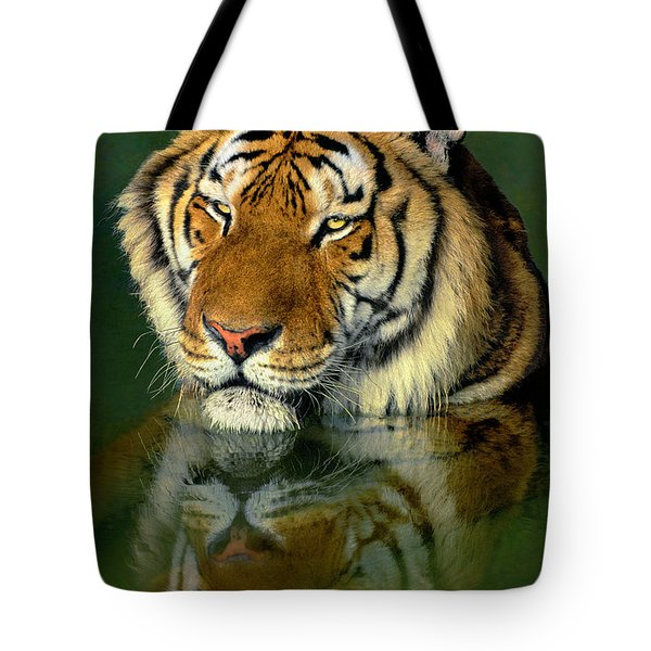 Tote Bag featuring the photograph Siberian Tiger Reflection Wildlife Rescue by Dave Welling