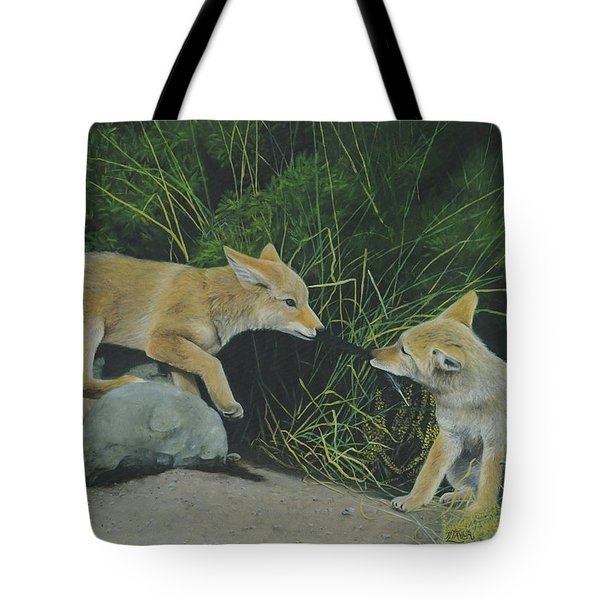 Tote Bag featuring the painting Sibling Rivalry by Tammy Taylor