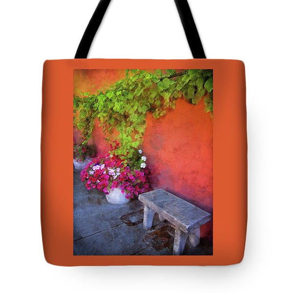 Tote Bag featuring the photograph Sidewalk Floral In Brownsville by Thom Zehrfeld