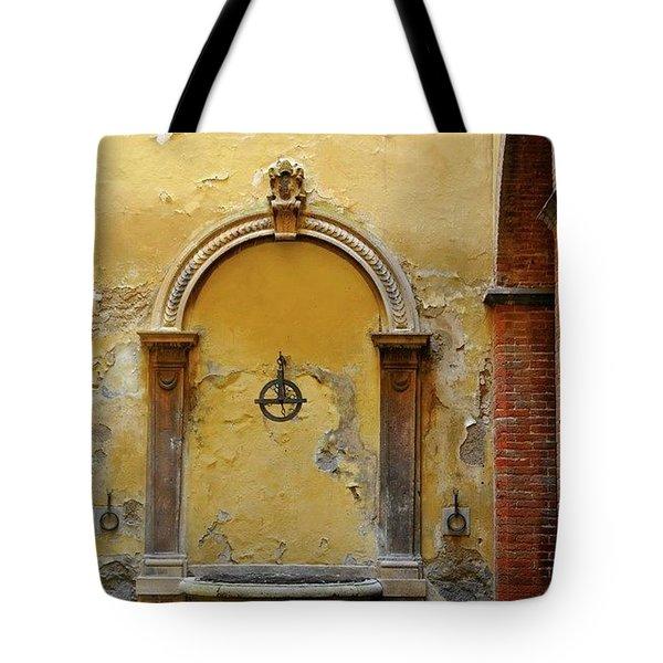 Sienna Fountain Courtyard Tote Bag