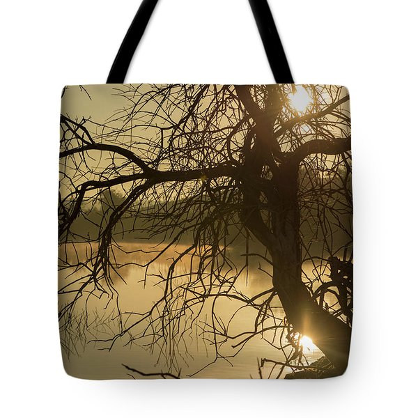 Silhouette Of A Tree By The River At Sunrise Tote Bag