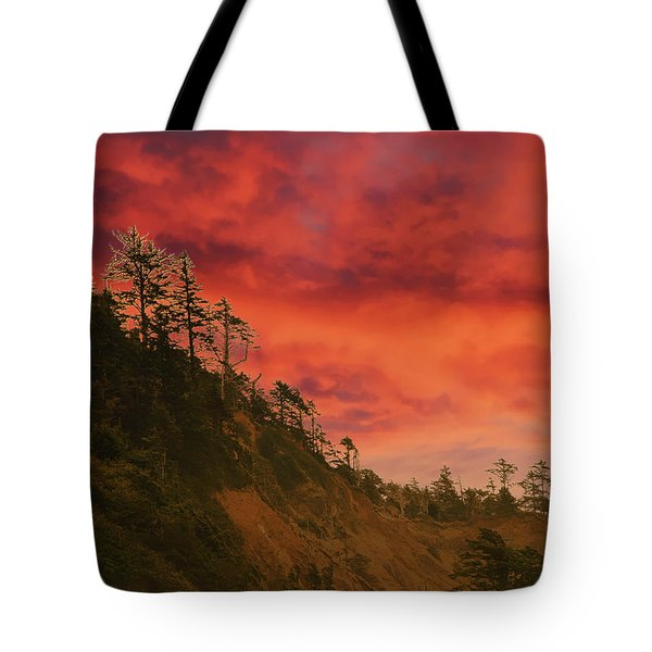 Silhouette Of Conifer Against  Seacoast  Tote Bag