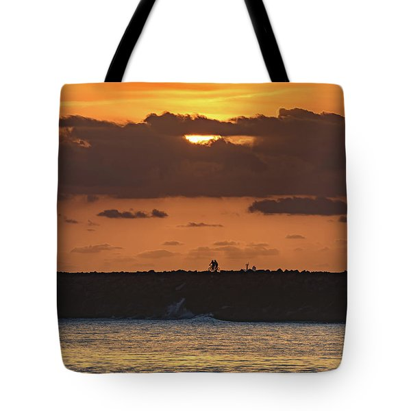 Silhouettes, Breakwall And Sunrise Seascape Tote Bag