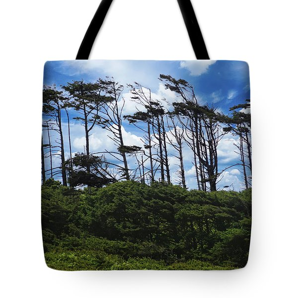 Silhouettes Of Wind Sculpted Krumholz Trees  Tote Bag