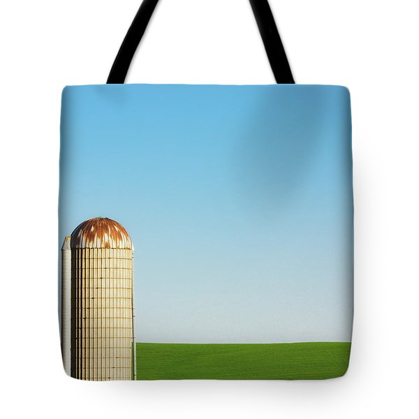 Silo On Blue And Green Tote Bag