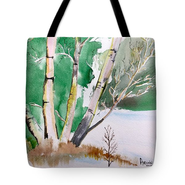 Silver Birch In Snow Tote Bag