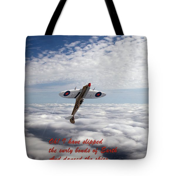 Tote Bag featuring the photograph Silver Spitfire - Slipping The Surly Bonds ... by Gary Eason