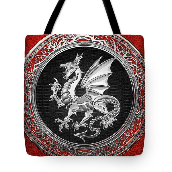 Silver Winged Norse Dragon - Icelandic Viking Landvaettir On Black And Silver Medallion Over Red  Tote Bag