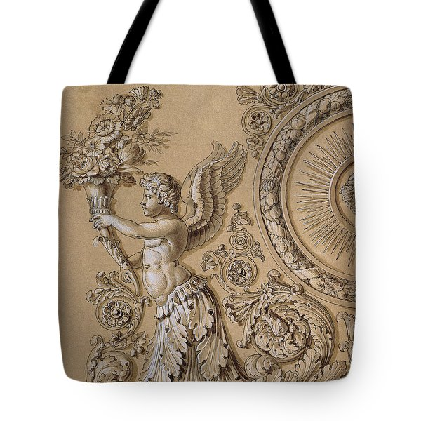 Silverwork Design Depicting A Cherub With Acanthus Leaves Circa 1800 Tote Bag