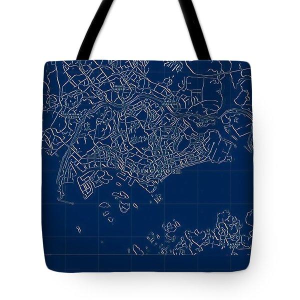 Singapore Blueprint City Map Tote Bag