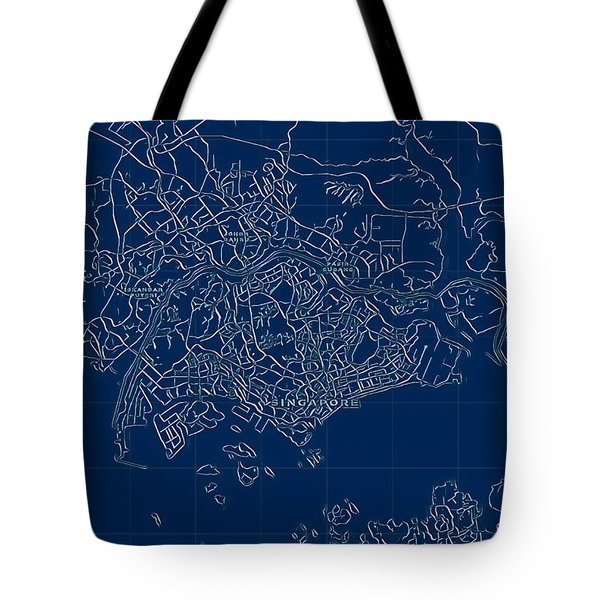 Tote Bag featuring the digital art Singapore Blueprint City Map by Helge