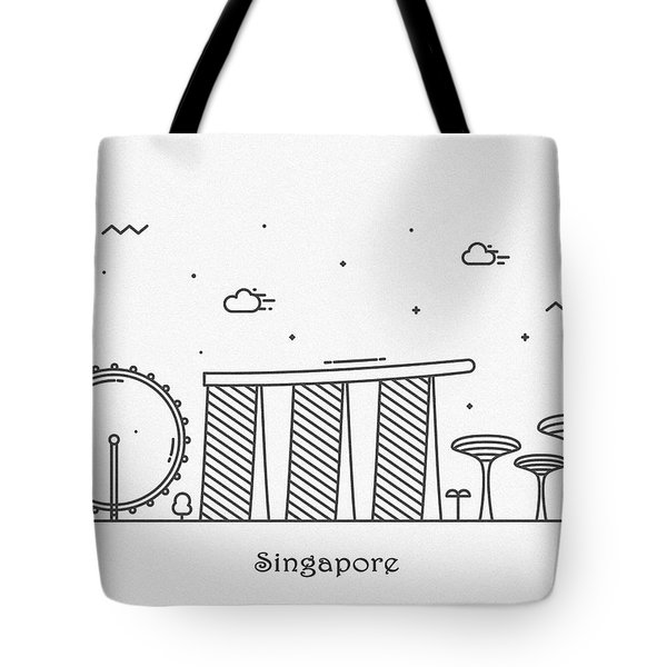 Singapore Cityscape Travel Poster Tote Bag