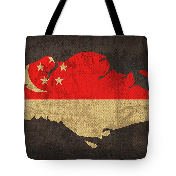 Singapore Country Flag Map Tote Bag