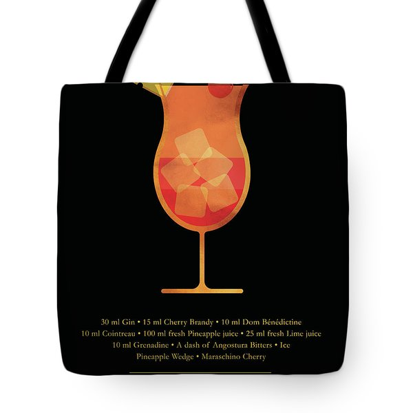 Singapore Sling - Cocktail - Classic Cocktails Series - Black And Gold - Modern, Minimal Decor Tote Bag