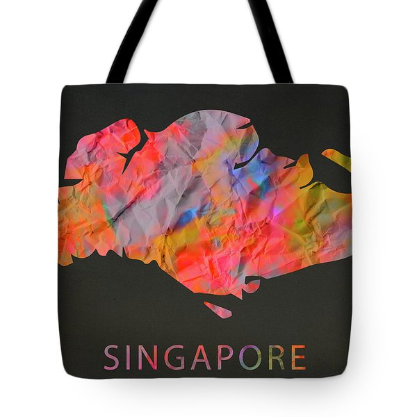 Singapore Tie Dye Country Map Tote Bag