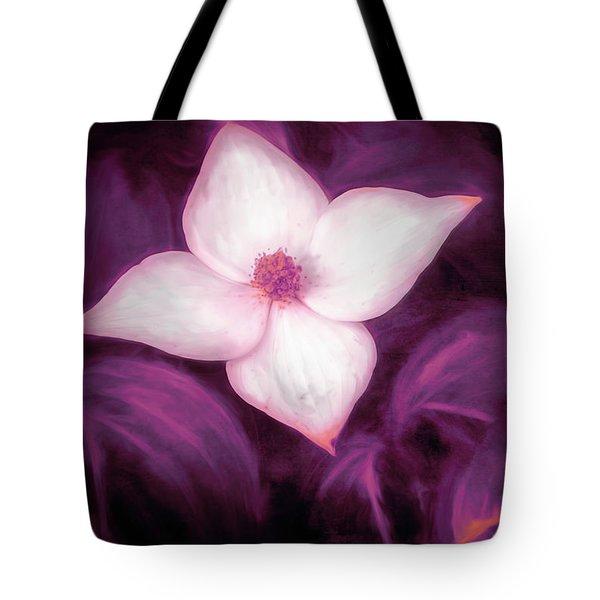 Single Dogwood Flower Purple Tote Bag