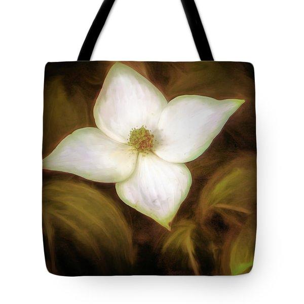 Single Dogwood Flower Sepia Tote Bag