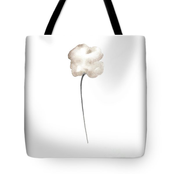 Single Sepia Cloud Poppy Leaning Right Tote Bag