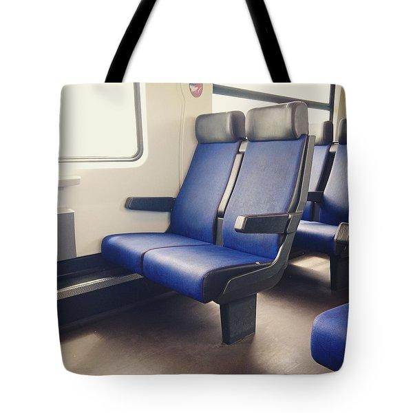Sitting On Trains Tote Bag