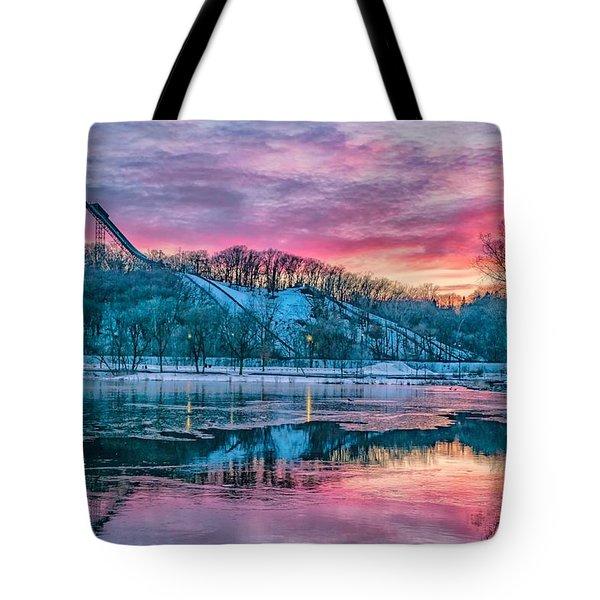 Ski Jump Sunset Tote Bag