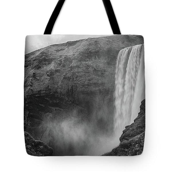 Skogafoss Iceland Black And White Tote Bag