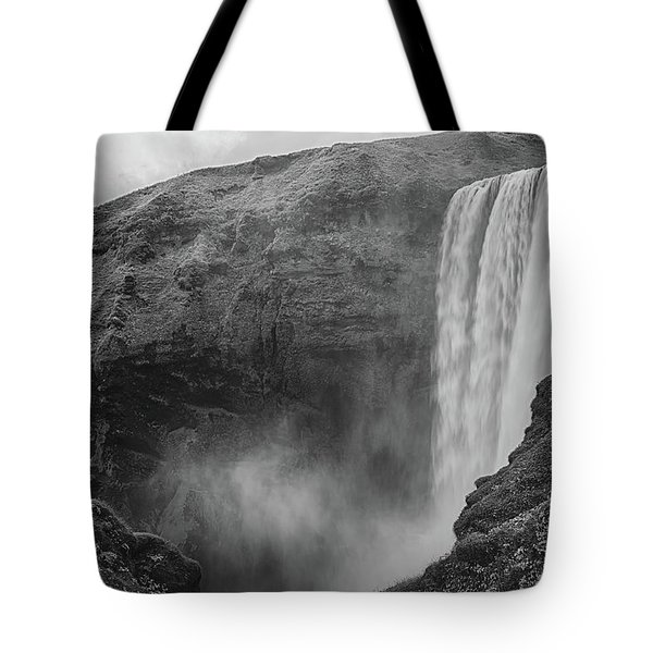 Skogafoss Iceland Black And White Tote Bag