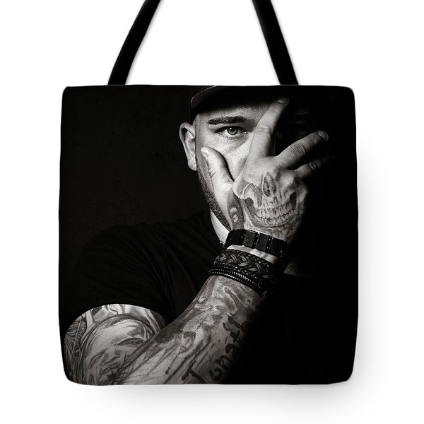 Skull Tattoo On Hand Covering Face Tote Bag