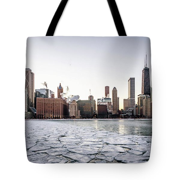 Skyline And Cracks In The Water Tote Bag