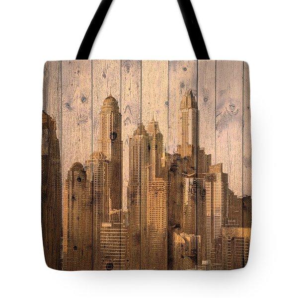 Skyline Of Dubai, Uae On Wood Tote Bag