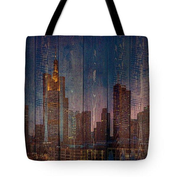 Skyline Of Frankfurt, Germany On Wood Tote Bag