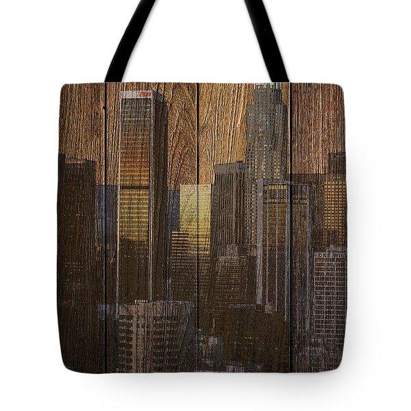 Skyline Of Los Angeles, Usa On Wood Tote Bag