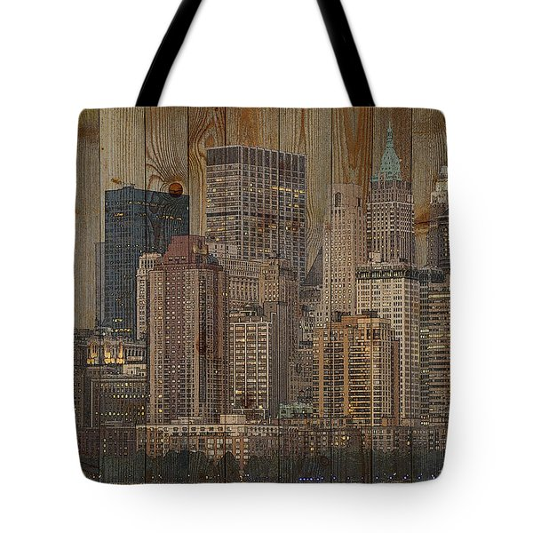 Skyline Of New York, Usa On Wood Tote Bag
