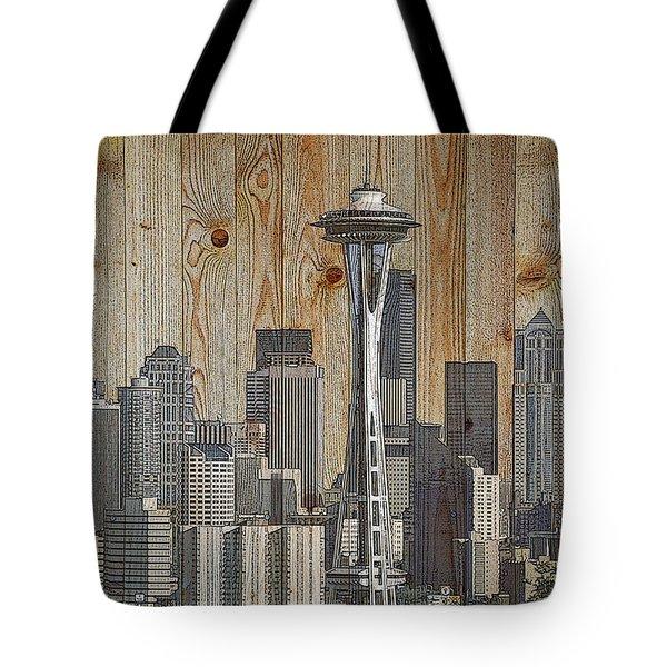 Skyline Of Seattle, Usa On Wood Tote Bag