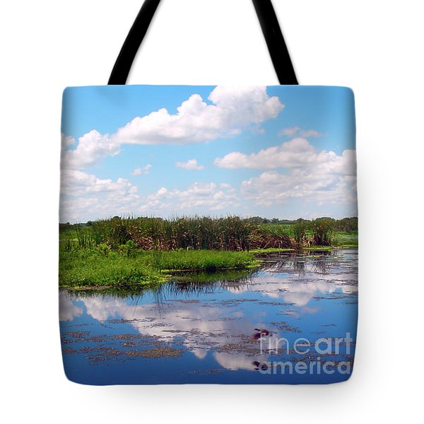 Skyscape Reflections Blue Cypress Marsh Near Vero Beach Florida C6 Tote Bag